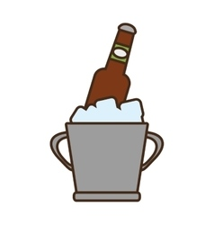 Cartoon bucket beers cool ice design vector