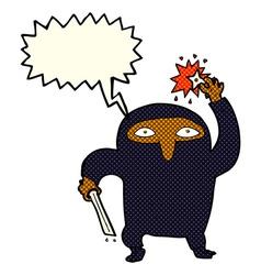 Cartoon ninja with speech bubble vector