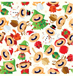 christmas seamless pattern with cute cartoon child vector image