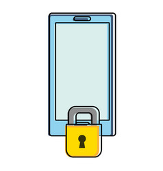 Color smartphone technology with padlock security vector