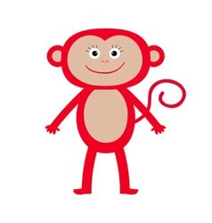 Cute red monkey isolated baby white background vector