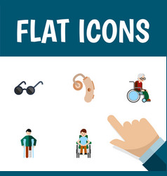 Flat icon handicapped set of wheelchair audiology vector