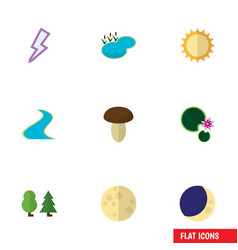 Flat icon natural set of tributary pond lunar vector