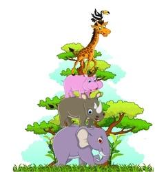 Funny animals cartoon posing vector