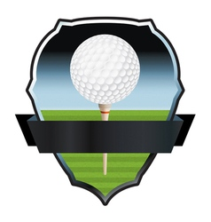 Golf ball on tee emblem vector