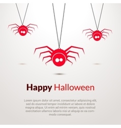 Hapy halloween background with cute spiders vector