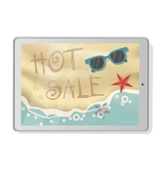 Hot Sale with beach on tablet vector image