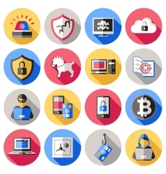 Internet security flat icons set vector