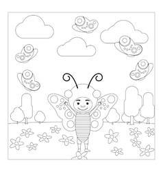 Kid in butterfly dress coloring page vector