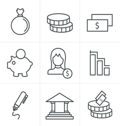 Line icons style banking icons vector