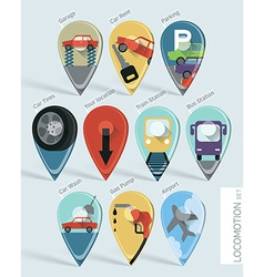 Locomotion Map Pins vector image