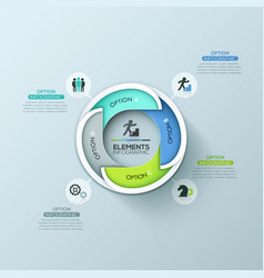 Modern round infographic design template with 4 vector
