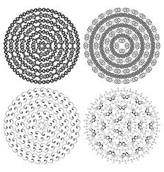 Monochromatic ethnic round textures vector