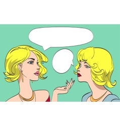nice drawn two talking blonde women in color vector image vector image