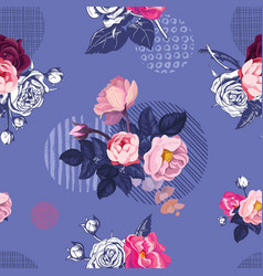 romantic natural seamless pattern with half vector image