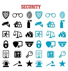 Security and protection flat icons set vector
