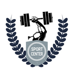 Sport center logo with male hand holding barbell vector