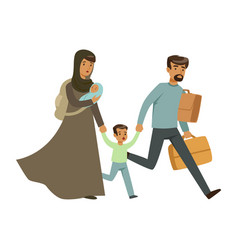 Stateless refugee family escaping from war with vector