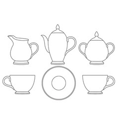 Tea set outline icons vector