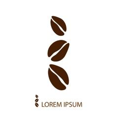 Three grey coffee beans as logo vector image