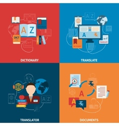 Translation and dictionary flat icons composition vector