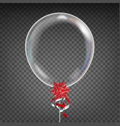 Transparent balloon red bow party vector