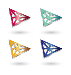 triangle 3d glossy logo vector image