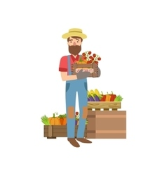 Farmer with beard holding wooden crate vegetables vector