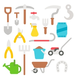 Flat design farmer tools set vector image