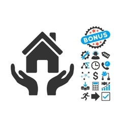 House care hands flat icon with bonus vector