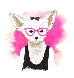 Hand drawn dressed up fennec in hipster style vector