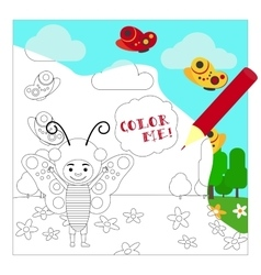 Kid in buttefly dress coloring page vector image