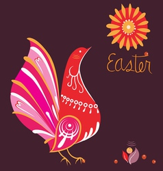 Easter poster with bird in national style vector