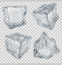 Set of transparent gray ice cube vector