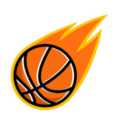 sport ball fire basketball vector image