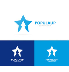star and arrow up logo combination vector image