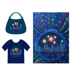 Background with holiday night city vector
