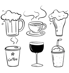 Doodle design of the different kinds of drinks vector image