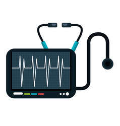 Cardiology stethoscope medical service isolated vector
