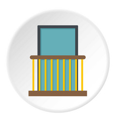 Balcony with yellow fencing icon circle vector