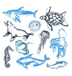 Sea creatures - of vintage vector