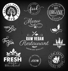Raw vegan restaurant farm freshorganic labels vector