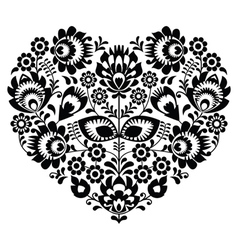 Polish folk art heart pattern in black - wycinanka vector image