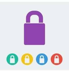 Lock flat circle icon vector
