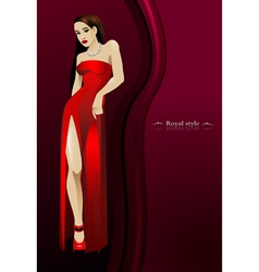 Beautiful girl in red long dress bottom of a dark vector