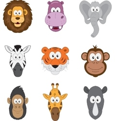 Cartoon jungle savannah animals faces vector