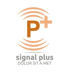 Logo signal letter p plus orange alphabet wireless vector