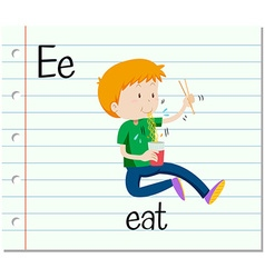 Flashcard letter e is for eat vector