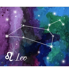 Zodiac sign on watercolor abstract galaxy vector