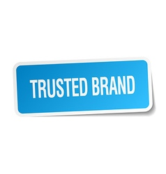 Trusted brand blue square sticker isolated on vector